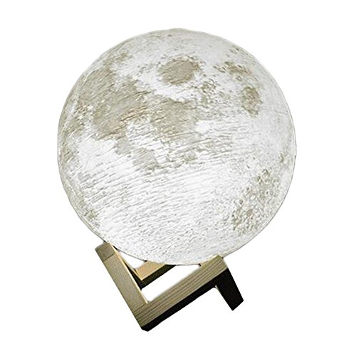 JT Innen 3D Druck Modell Mond Nachtlicht Berühren Die Touch 2 Farbe ABS Holz Halterung Mode Urlaub Geschenk, 2 color, 20