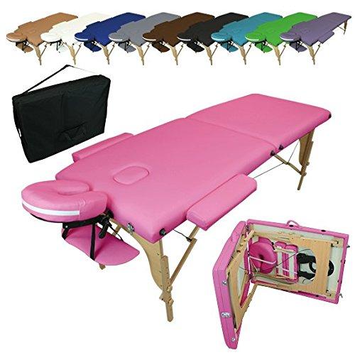 Linxor ® Mesa de masaje plegable 2 zonas de madera con panel...