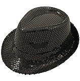 adulte paillettes noires chapeau mou pour gangster années 1920 années 30 Festival Accessoire déguisement