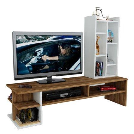 DUO Wohnwand – Weiß / Nussbaum – TV Board / Lowboard in modernem Design - 2