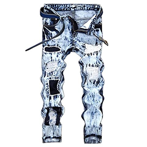 Men's Fashion Ripped Blue Distressed Patch Jeans Pants Blue / 28