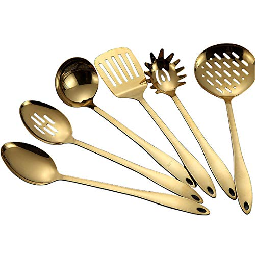 SILIC&NOSTIKCOOK 1 stück Spot Titanium Gold Edelstahl küchengeschirr kochlöffel Schaufel kochgeschirr küchenhelfer spatel und pfanne küchengeschirr Public Spoon Gold Color