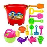 Toyvian 13pcs Juegos de Arena en la Playa con moldes y Cubos de Dibujos Animados para Piscinas, Patio y arenero