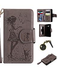 PU Coque ( Samsung Galaxy J5 (2017) ,PU Cuir Portefeuille Etui Housse Case Cover portefeuille,carte de crédit Fentes pour (9 fente) ,idéal pour protéger votre téléphone + Bouchons de poussière (5)