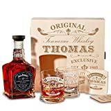 Holzkiste mit Jack Daniel's Single Barrel Tennessee Whiskey | 6-tlg Whisky Geschenk-Set inkl. Gravur Motiv - Original-Exklusive