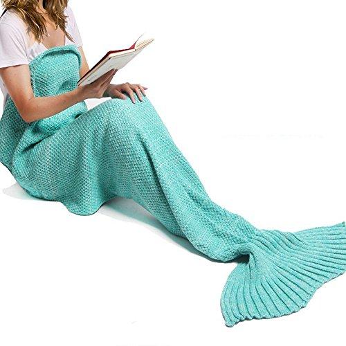 gearfan Cute Mermaid Snuggie Schwanz Decke Toddler Klimaanlage beendet für Kinder Erwachsene Wohnzimmer Strickwolle Schlafsack (71inch32inch) Traditionell grün (Liege Sherpa Lange)