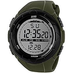 SKMEI Analog-Digital Dial Men's Watch-DG1025 (GENT SIZE ARMY GREEN)