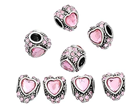 Souarts Silver Color Pink Rhinestone Heart European Beads for Charms Bracelet Pack Of 10Pcs