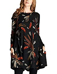 Asvivid Women's Long Sleeve Feather Graphic Print Tunic Mini Casual Loose Shirt Dress with Pockets