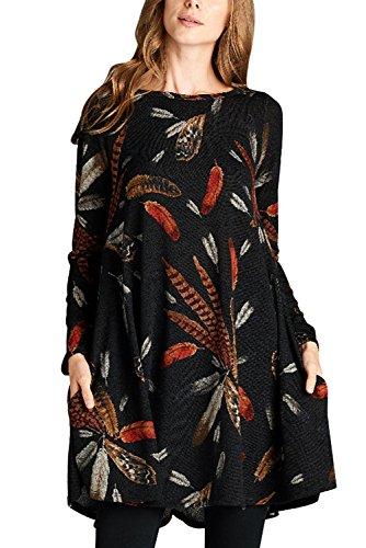 TOUVIE Damen Langarm Tasche Casual Loose T-Shirt Kleid A-Linie Tunika Mini Kleid Schwarz XXL