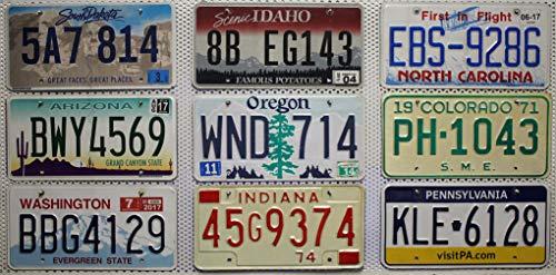 9 Kennzeichen SET/LOT # US Nummernschilder NORTH CAROLINA + SOUTH DAKOTA + PENNSYLVANIA + ARIZONA + IDAHO + COLORADO + WASHINGTON + INDIANA + OREGON Blechschilder # USA Fahrzeug - Schilder