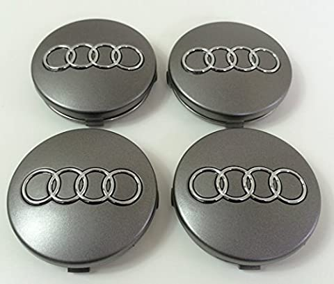 Set Of Four Alloy Wheels Centre Hub Caps Grey Covers Badge 60 mm 4B0 601 170 Fits Audi A3 A4 A5 A6 A7 A8 S4 S5 S6 S8 RS4 Q3 Q5 Q7 TT A4L A6L S Line Quattro and other Models 4b0601170 Set de quatre Jantes aluminium Centre Lot de 4 enjoliveurs Gris Couverture insigne Moyeu Couvercle Moyeu Embouts 60 mm Audi