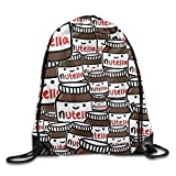 yiyuanyuantu Nutella Peanut Bread Jam Drawstring Storage Bag Drawstring Backpack for Men & Women School Travel Backpack