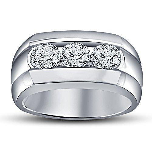 Weiß rhodiniert Sterling Silber Herren Brilliant 1,75Karat Drei Stein Simuliert Diamant Ring ()