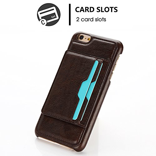 """iPhone 7 4,7"""" Case Hülle mit Kartenfach Kredit Karten Hülle Kunst Leder Handy Schutzhülle von Harrms,Stil 1 - Weiß Stil 3 - Hell Braun"""