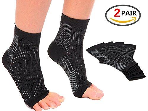 (2Paar) Plantarfasziitis Socken mit Arch Support, Best 24/7Fuß Pflege Kompression Ärmel, besser als Nacht Splint, lindert Schwellungen & Fersensporn, Fußgelenkstütze, Steigert die Durchblutung, lindert Schmerzen Schnell, Black & White S/M (Women 2- 5.5 / Men 5.5- 8.0) 2PAIRS (Argyle-schuh)