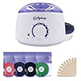 Wax Heater, Sybosy Electric Hair Removal Waxing Kit with 4 Packs of Hard Wax Beans and 10 Wax Wooden Spatulas (at-Home Waxing for Women and Men)