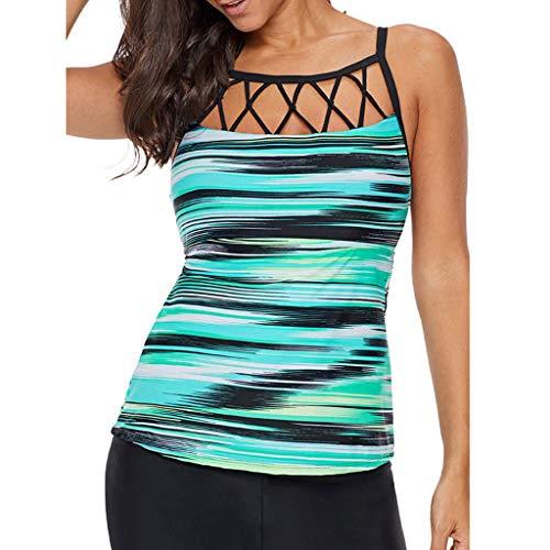 Bikini Set,Rifuli® Frauen Tankini Sets Mit Damen Boho Print Bikini Set Bademode Push Up Gepolsterter BH Strandkleidung 0522#025 -