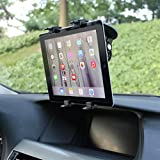 Multi-Angle Rotating Car Mount Tablet Holder Windshield Window Swivel Cradle Suction Black for Barnes & Noble Nook Color - Barnes & Noble Nook HD - Barnes & Noble Nook HD+