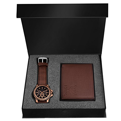 Lorenz Analogue Black Dial Brown Strap Watch And Wallet Combo For Men- Cm-1054Wl-Brn