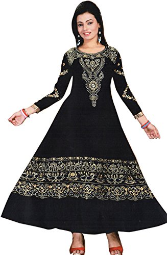 Exotic India Anarkali Flared Kameez Suit with Metallic-Thread Embroidery - Color Jet...