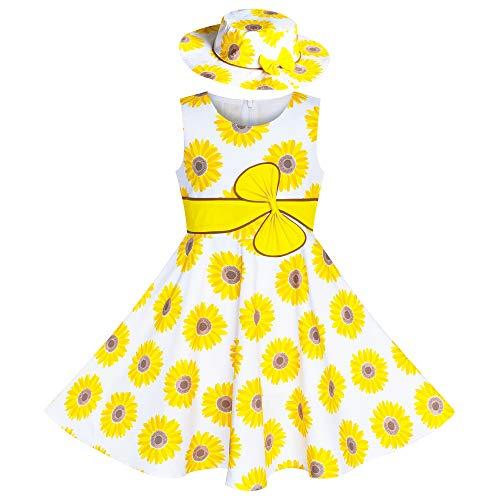 Sunboree Mädchen Kleid 2 Stücke Hut Gelb Blume Party Urlaub Gr. 98 104 (Boutique Mädchen Kleid)
