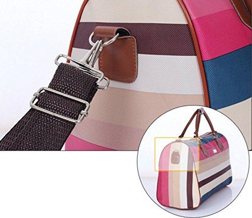 FZHLY PU-Leder-Schulter Bagboard Damen Große Kapazitäts-Fitness-Tasche PurpleGrid