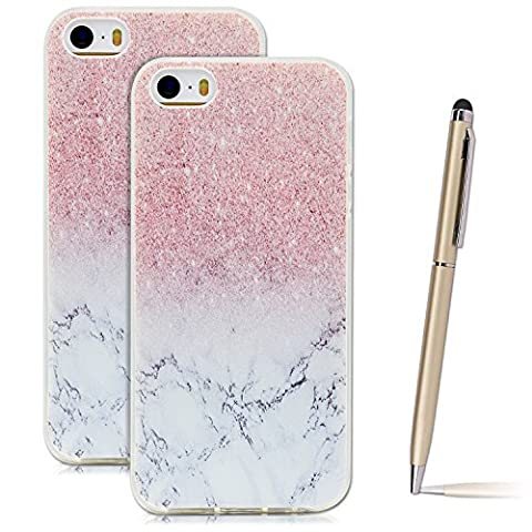 iPhone SE Case, iPhone 5S Cover, SpiritSun Ultra Slim Transparent Soft TPU Silicone Back Cover Flexible Lightweight Gel Rubber Bumper Shock Scratch Resist Protective Skin for Apple iPhone SE / 5 / 5S with Stylus Pen - Marble and Pink Flowers