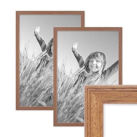 2er Set Landhaus-Bilderrahmen 30x40 cm Eiche-Optik Massivholz mit Glasscheibe und Zubehör /