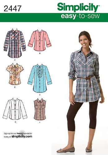 Simplicity Schnittmuster 2447 Tops Damen, Gr. 32-40 (Ruffled Plaid Shirt)