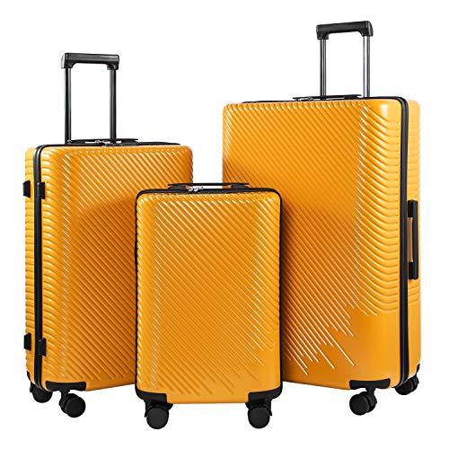 COOLIFE Mode-Business-Koffer Reisekoffer PC+ABS Material mit TSA-Schloss und 4 Rollen Handgepäck Mittelgroßer Großer Koffer (Gelb, Koffer-Set)