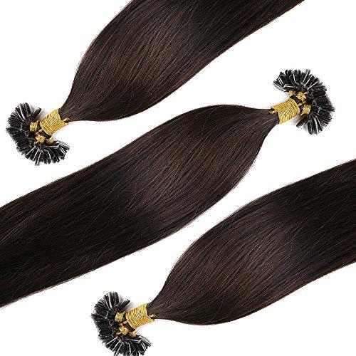 Extensions Echthaar Bondings Haarverlängerung U-Tip 100 Strähnen 0.5g per Echthaarsträhne 50g-50cm(#2 Dunkelbraun)