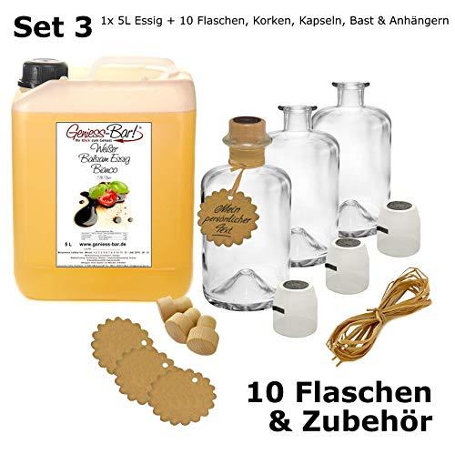 Weißer Balsamessig Bianco 5L + 10 Flaschen, Korken, Kapseln, Bast & Anhänger