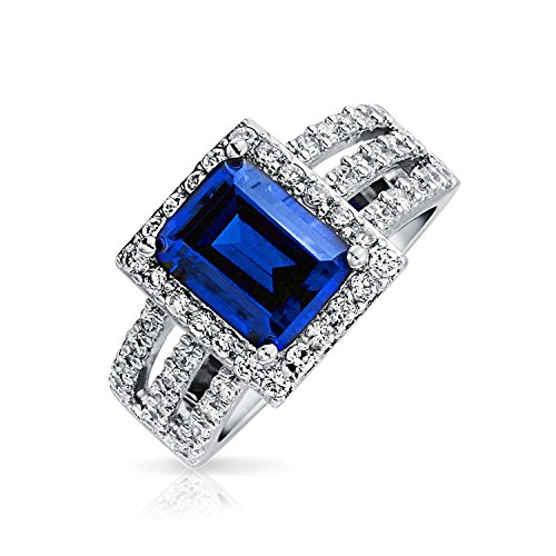 Im Art Déco-Stil 3Ct Simulierten Saphir Royal Blue Triple Ebnen Split Band Engagement Erklärung Ring 925 Sterling Silber - 8 Split-ring 5