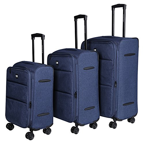 Nasher Miles Polyester London Expander Soft-Side Luggage Trolley Bag - Set of 3(55, 65 and 75cm, Blue)