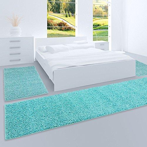 carpet city Shaggy Bettumrandung Hochflor-Teppiche in Türkis, Hell-Blau, Einfarbig für Schlafzimmer, 3-teiliges Läufer-Set: 2X 70x140 cm und 1x 70x250 cm