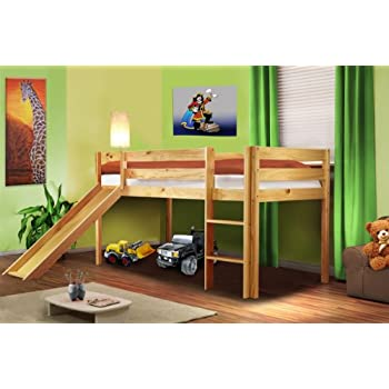 hochbett kinderbett spielbett mit rutsche massiv kiefer natur shb 1033 k che. Black Bedroom Furniture Sets. Home Design Ideas