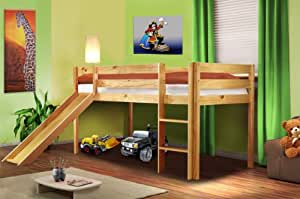 Hochbett Kinderbett Spielbett mit Rutsche Massiv Kiefer Natur - SHB/1033