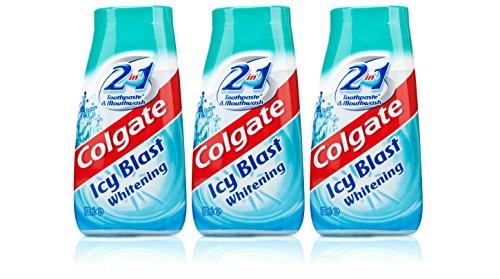 3x Colgate 2 in 1 Zahnpasta und Mundwasser eisiger Whitening 100 ml Reisegröße (Zahnpasta Colgate Whitening)