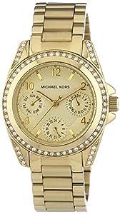 Michael Kors Multifunktion MK5639 - Reloj analógico de cuarzo para mujer, correa de acero inoxidable chapado color dorado (agujas luminiscentes) de Michael Kors