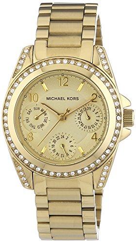 Michael Kors Multifunktion MK5639 - Reloj analógico de cuarzo para mujer, correa de acero inoxidable chapado color dorado (agujas luminiscentes)
