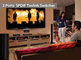 Neoteck SPDIF Toslink Switcher 3 Ports 3x1 Toslink Digital Optical Audio Switcher with IR Remote Control Supported Dolby-AC3 DTS LPCM2.0 for PS3 PS4 XBOX Blu-Ray Player PC to AV Amplifier Speaker