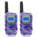 Isabake Walkie Talkie Bambini PMR 446 10 Suonerie VOX 3km Scope Squelch Monitor LCD Display Lanterna Incorporata Retroilluminata Avviso di Batteria Scarica (1 Coppia) (Camouflage Viola)