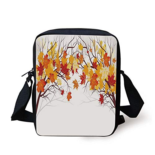 Fall Decorations,Image of Canadian Maple Leaves in Fall with Soft Reflection Effects,Orange White Print Kids Crossbody Messenger Bag Purse -
