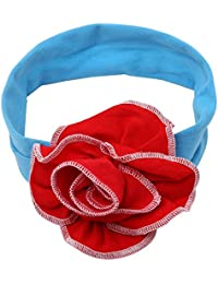 NeedyBee Headband For Girls/Kids/Babie Soft Cotton With Flower Bow (Kids Hair Accessories)(Red & Blue)