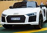trendy-palanets Kinder Elektroauto Audi R8 Spyder Modell 2018 Original Lizenziert mit Ledersitz, 2X Motor, 12 V Batterie, 2.4 Ghz Fernbedienung, Soft Eva Räder, Glatter Start, Bluetooth (Weiss)