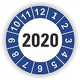 5-1.000 Stück Prüfplaketten Prüfetiketten Wartungsetiketten Jahresplakette 2020 Ø 20mm (Blau 60 Stück)
