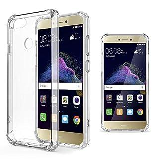 Moozy Transparent Silikon Hülle für Huawei P8 Lite 2017 - Stoßfest Klar TPU Case Handyhülle Schutzhülle
