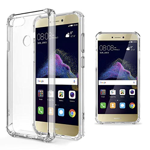 Moozy cover silicone antiurto per huawei p8 lite 2017 - custodia trasparente morbida crystal clear tpu case