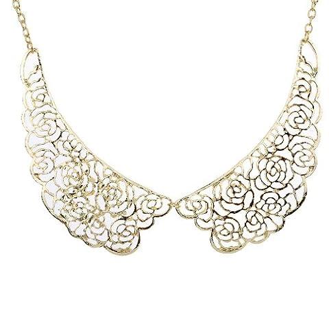 Yazilind Jewelry Elegant Golden Alloy Splicing Flowers Design False Collar